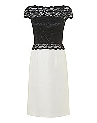 Gina Bacconi Contrast Lace & Woven Dress