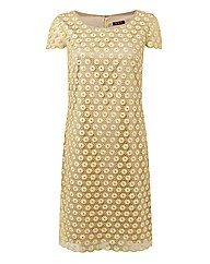 Gold Crochet Lace Shift Dress