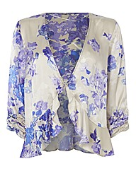 Chesca Silk Satin Floral Shrug