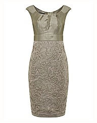 Montique Satin & Lace Empire Dress