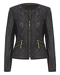 Mock Leather Zip Up Jacket