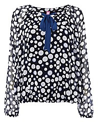 Basler Spot-print Chiffon Blouson Top