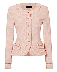 Apanage Fringe-trim Tweed Jacket