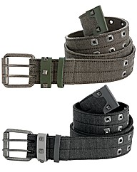 Jacamo Pack of 2 Canvas Eyelet Belts