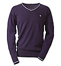 Jacamo Tipped V-Neck Jumper