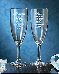 Pair of Personalised Anniversary Flutes