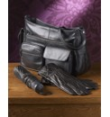 Black Leather Bag Brolly And Gloves Set