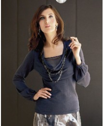 Marie Mero Necklace Trim Cowl Neck Top