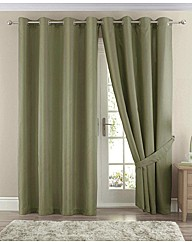 Faux Silk Curtains and Tiebacks BOGOF