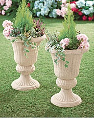 Stone Effect Urn Planters Set of 2