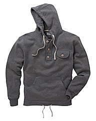 Jacamo Button Neck Hoodie Regular