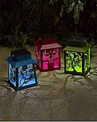 Set of 3 Metal Fret Lanterns
