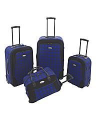 Four Piece Blue Check Print Luggage Set