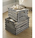 Set 2 Wooden Storage Crates with Lining