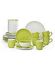 24 Piece Lime and White Coupe Dinner Set