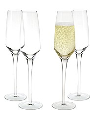 4 Piece Elegant Champagne Glass Set
