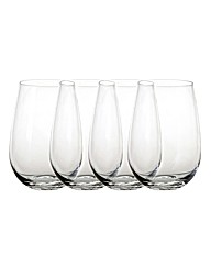 4 Piece Elegant Stemless Wine Glass Set