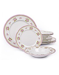 12 Piece Vintage Rose Bone China Set