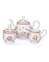 3 Piece Vintage Rose Bone China Tea Set
