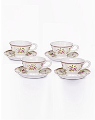 4 Piece Rose Bone China Cups and Saucers