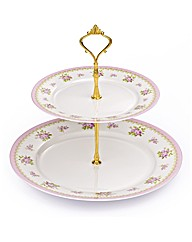 2Tier Vintage Rose Bone China Cake Stand
