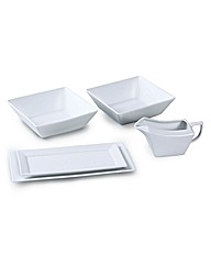 5 Piece White Square Serving Set