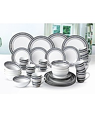 32 Pce Black and Grey Banded Dinner Set