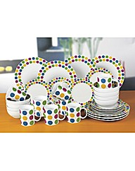 32 Piece Multi Spot Dinner Set