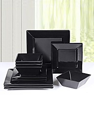 12 Piece Black Square Dinner Set