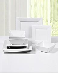12 Piece White Square Dinner Set