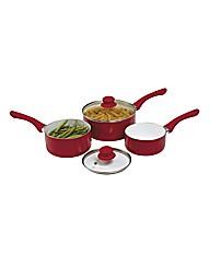 Set Of 3 Ceramic Saucepans Red