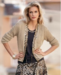 Gelco Sequin Trim Cardigan