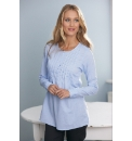 Anise Pintucked Long Sleeve Top