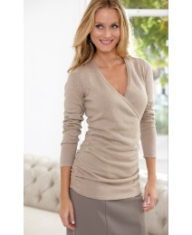 Anise Mock Wrap Fine Knit Jumper