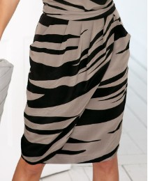 Anise Animal Print Silk Tulip Skirt
