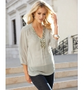 Anise Beaded Trim Chiffon Top