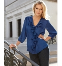 Anise Satin Frill Front Blouse