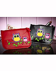 Set Of 2 Owl Zip Pouches