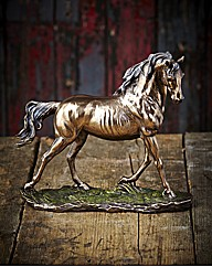 Polished Bronze Trotting Horse Figure