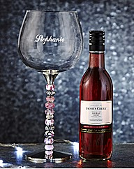 Personalised Beaded Wine Glass & Wine