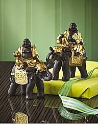 Set Of 2 Buddhas Riding Elephants