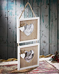 Rustic Heart Double Hanging Frame