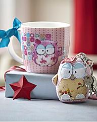 Pink Owl & Keyring Set