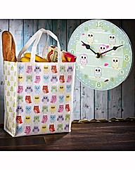 Owl Shopping Bag & Clock Set