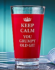 Keep Calm Grumpy Old Git Glass