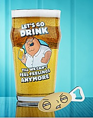 Family Guy Beer Glass and Bottle Opener