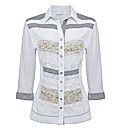 Just White Embellished Crinkle Blouse