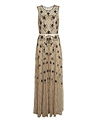 Gina Bacconi Mesh Beaded Long Gown