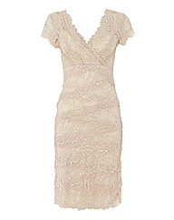 Gina Bacconi Layered Beaded Lace Dress