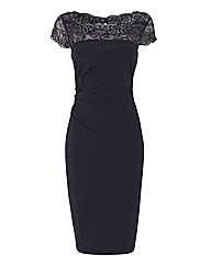Gina Bacconi Lace Neckline Shift Dress